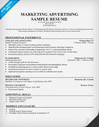 Advertising Resume Templates Mesmerizing Marketing Advertising Resume Template Resume Samples Across All