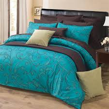 3pc turquoise dark brown paisley design 300tc cotton duvet cover set king