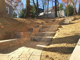 paver stairs retaining wall construction