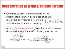 Concentration Of Solutions Concentration Of Solutions Introduction Mass Volume M V Youtube