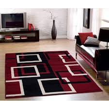 rug red black and gray area rugs new sweet home modern boxes dark red area