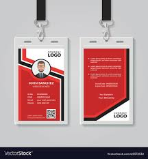 003 Modern Red Id Card Template Vector Free Badge Templates