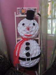 making a disposable cup chandelier finished snowman