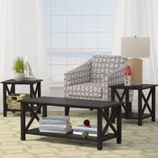 3 piece table set. Beachcrest Home | Ruthwynn 3 Piece Coffee Table Set Black