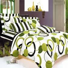 modern bedroom with modern geo circle stripe pattern duvet cover set and lime green black white