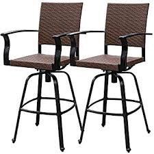 swivel bar chair. Sundale Outdoor 2 Pcs Brown Wicker Bar Height Swivel Stool All Weather Patio Furniture Set Chair E
