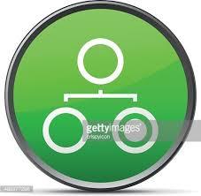 Organization Chart Icon On A Round Button Slender Series