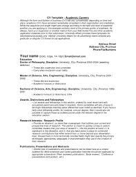 Template For Academic Resume Resume For Your Job Application