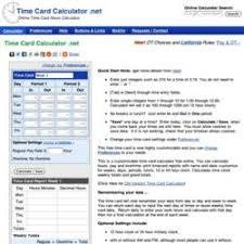 Time Card Calculator Free Calculatorsoups Time Card Calculator Readies For Individual And