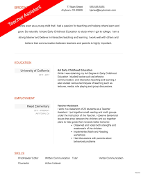 Teacher Assistant Resume Resume examples for young adults best of teaching assistant resume 53