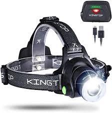 Kingtop Waterproof <b>USB</b> Rechargeable LED Zoomable Head Light ...