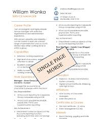 Single Page Resume Template One Sample Pdf Sevte