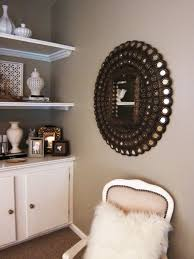 White Living Room Cabinet Home Decoration Attractive Round Wall Decor Mirrors With Chromed