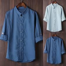 Мужская классическая рубашка в китайском стиле, <b>кунг</b> фу, топы ...