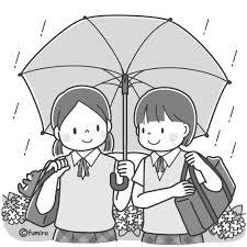 傘をさす女子中学生のイラストモノクロ 子供と動物のイラスト屋