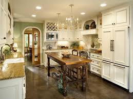 French Country Kitchen with White Cabinets and Chandeliers