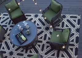 fantastic deck lighting ideas decorating ideas. Hampton Bay Cane Crossing Outdoor Seating Set On An Rug With A Bold Pattern Fantastic Deck Lighting Ideas Decorating O