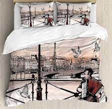 duvet cover set accordionist playing paris street urban famous town city panorama graphic scene bedding set duvet bedding sets from curteney