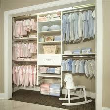Simple Bedroom with Baby Girl Nursery Closet Organizer, White Wooden Closet  Storage, and Wooden