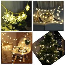 snowflake string lights cftech 6 5 ft