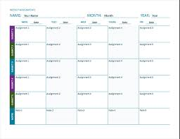 weekly assignment template weekly assignment sheet color landscape office templates