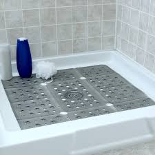 gray extra large shower mat in shower