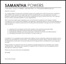 Sample Construction Cover Letters Construction Supervisor Cover Letter Sample Cover Letter