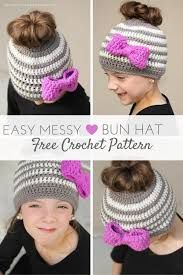 Free Crochet Hat Patterns For Toddlers Magnificent Kids Messy Bun Hat Crochet Pattern Daisy Cottage Designs