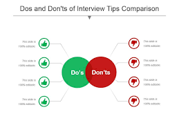 The Do S And Don Ts Of An Interview Dos And Donts Of Interview Tips Comparison Powerpoint Show