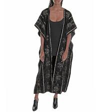 scroll velvet long duster