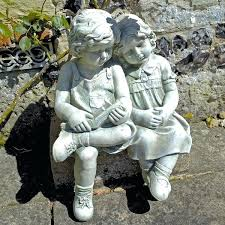 concrete boy fishing statue vintage black pond and girl for on bench garden