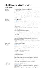 Assistant Manager/Supervisor/Bar Staff Resume samples