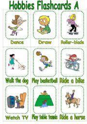 hobbies for kids. english worksheet: hobbies flashcards a for kids