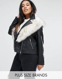 river island plus detachable collar leather look jacket black women jackets river island t shirts