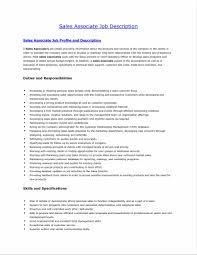 Interesting Resume Retail Sales Associate Job Description For Your