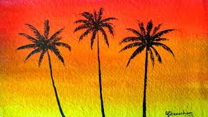how to paint a sunset with palm trees in watercolor paint with david
