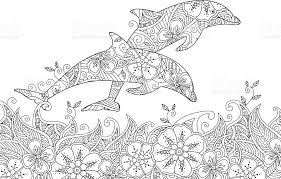 Small Picture Coloring Page With Pair Of Jumping Dolphins In The Sea stock