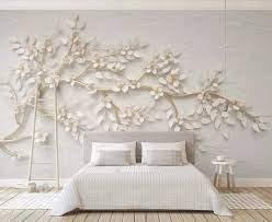 Wallpaper 3D Golden Branch White Flower ...