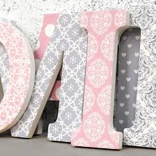 Patterned Amazing Pink Grey Damask Patterned Wall Letters
