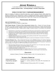 resume examples highly effective it program management technology resume  template professional experience education technical expertise -