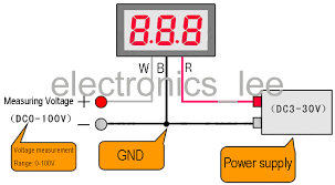 v20d 0 36 led digital dc 0 100v voltage meter red display 15cm cable 3 wire connection external power supply v20d 1