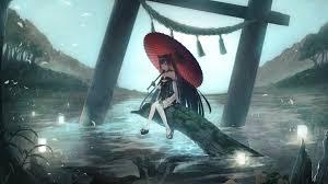 Desktop wallpaper alone, anime girl ...