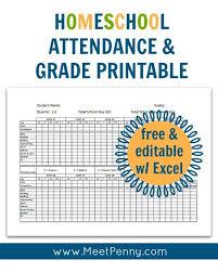 Free Homeschool Attendance Grade Tracker Homeschool