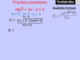 solving equations using the quadratic formula practice questions and answers