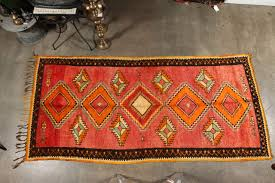 unique vintage tribal moroccan rug runner free style design very modernist with bold colors