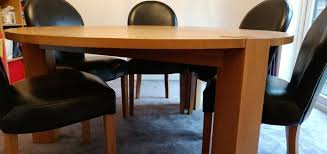 round solid oak dining table 6 leather chairs like new in blackburn lancashire gumtree