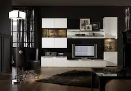 Modern Black Living Room Furniture Vetro 04 Modern Wall Unit For Living Room Entertainment Center