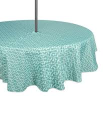 aqua diamond outdoor tablecloth with zipper 52 round