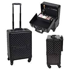amazon ogima professional rolling makeup case cosmetic train box trolley black plaid beauty