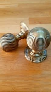 Frelan Hardware Antique Brass Reeded Mortice Door Knobs JR8MAB